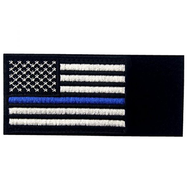 EmbTao Airsoft Morale Patch 5 Tactical Embroidered Thin Blue Line USA Flag Fastener Hook & Loop Patch
