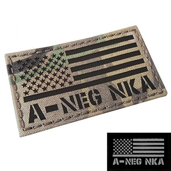 Tactical Freaky Airsoft Morale Patch 3 IR Multicam USA Flag ANEG A- Blood Type NKA NKDA Infrared Tactical Morale Fastener Patch