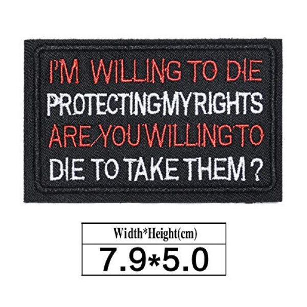 ZHDTW Airsoft Morale Patch 2 ZHDTW Tactical Morale Letter Patches I'm Willing to Die Protecting My Rights, are You Willing to Die to Take Them Decorative Patches with Hook Loop for Bags, Backpacks, Clothing (DT053)