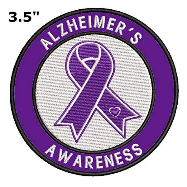 """Appalachian Spirit Airsoft Morale Patch 2 Alzheimer's Awareness Support Ribbon 3.5"""" Embroidered Patch DIY Iron or Sew-on Decorative Vacation Travel Souvenir Applique"""