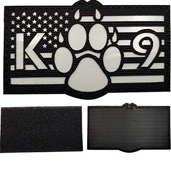 APBVIHL Airsoft Morale Patch 3 Glow in Dark USA Flag K9 Dog Handler Paw K-9 Tactical Morale Fastener Patch, Hook and Loop Backing for Harness Vest, Bundle 2 Pieces, 3.54 x 2.17 Inch