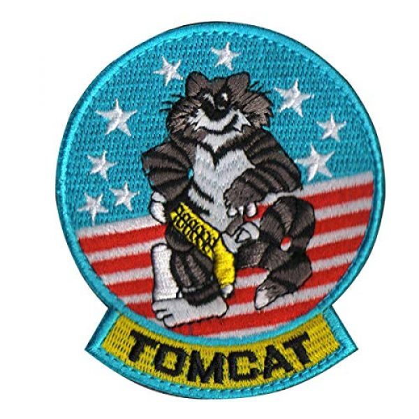 Zhikang68 Airsoft Morale Patch 1 Tomcat Top Gun US Navy Air Force Aviator Embroidered Patch Military Tactical Army Gear Morale Appliques for Hat Operator Baseball Cap Polo Backpack Jacket Shirt DIY Sew On Costume Badge (Tomcat)