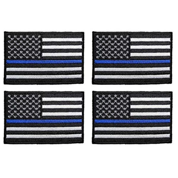 ASA Techmed Airsoft Morale Patch 1 ASA Techmed 4 Pack US USA Flag Embroidered Patch Thin Blue Line Police Emblem Military Iron On Sew On Tactical Morale Patch for Hats Backpacks Caps Jackets + More