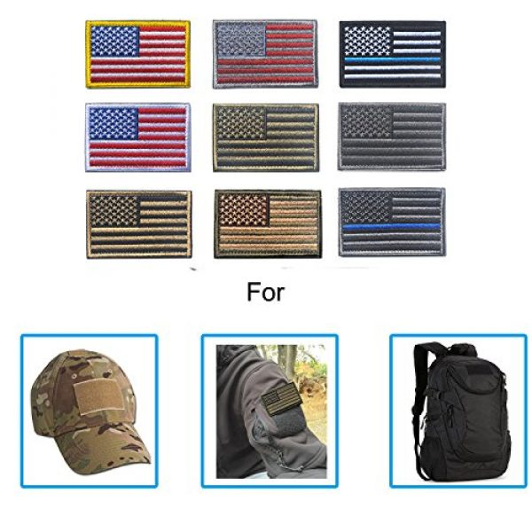 TopAAA Airsoft Morale Patch 2 Tactical Morale Tags Patch USA Flag Embroidered American Flag Patch Hook&Loop Fastener Backing Emblem, Red & Grey