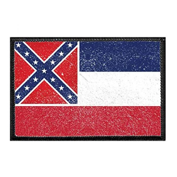 P PULLPATCH Airsoft Morale Patch 1 Mississippi State Flag - Color - Distressed | Hook and Loop Attach for Hats, Jeans, Vest, Coat | 2x3 in | by Pull Patch