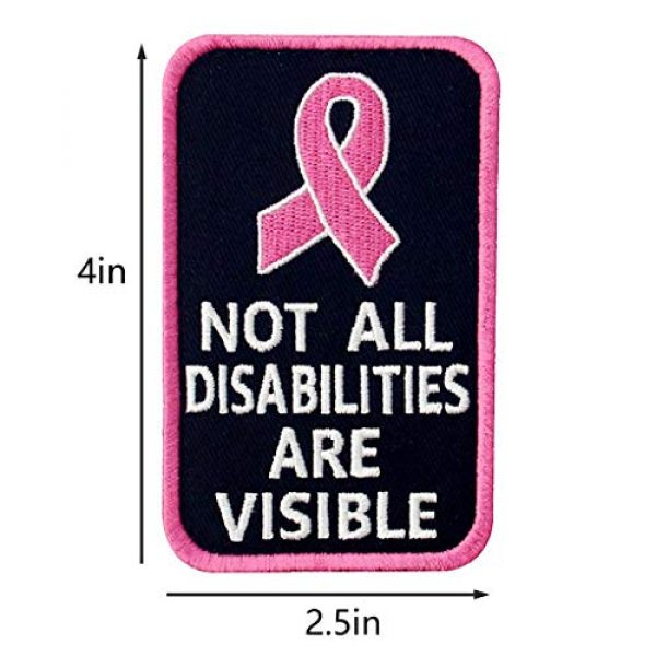 TailWag Planet Airsoft Morale Patch 4 Service Dog Medical Not All Disabilities are Visible Alert Vest/Harnesses Tactical Morale Patch Embroidered Badge Fastener Hook & Loop Emblem, 6 Pcs, Pink