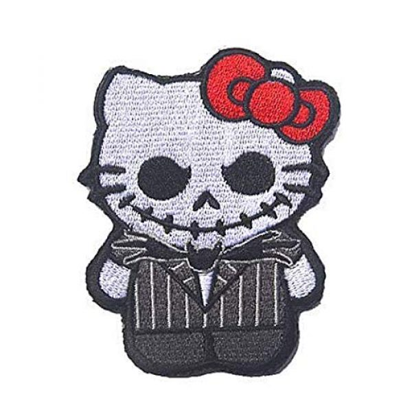 Kseen Airsoft Morale Patch 3 Hello Kitty Embroidered Patches As Jack Nightmare Before Christmas Armband Badge Morale Emblem Military Applique Fastener Decorative Patch