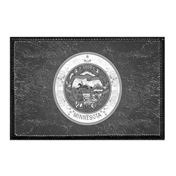 P PULLPATCH Airsoft Morale Patch 1 Minnesota State Flag - Black and White - Distressed Morale Patch | Hook and Loop Attach for Hats, Jeans, Vest, Coat | 2x3 in | by Pull Patch