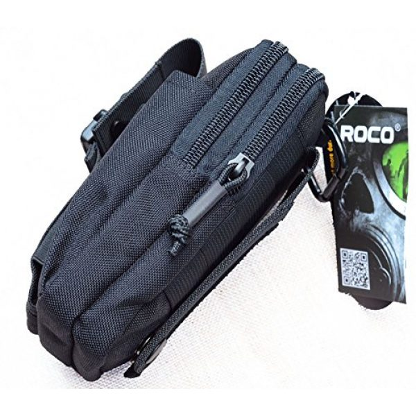 ROCOTACTICAL Tactical Pouch 7 Compact Tactical Molle EDC Pouch Utility Gadget Belt Waist Bag with Cell Phone Holster Holder for Iphone 6 Plus, 1000D Nylon (Black)