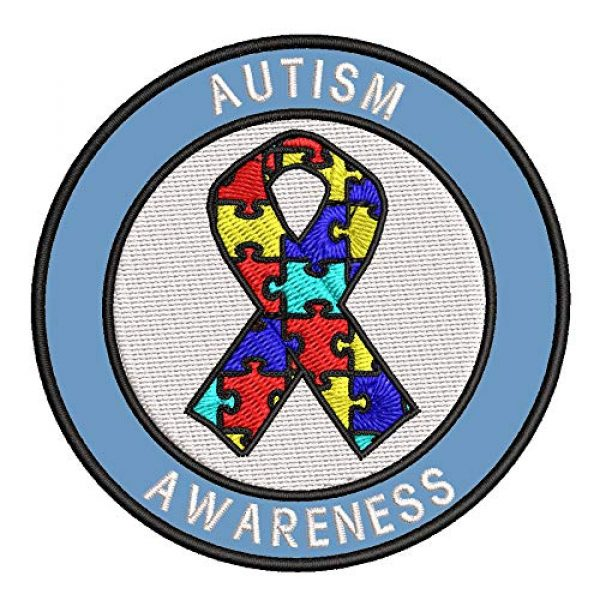 """Appalachian Spirit Airsoft Morale Patch 1 Autism Awareness Support Puzzle Ribbon 3.5"""" Round Embroidered Patch DIY Iron or Sew-on Decorative Vacation Travel Souvenir Applique"""