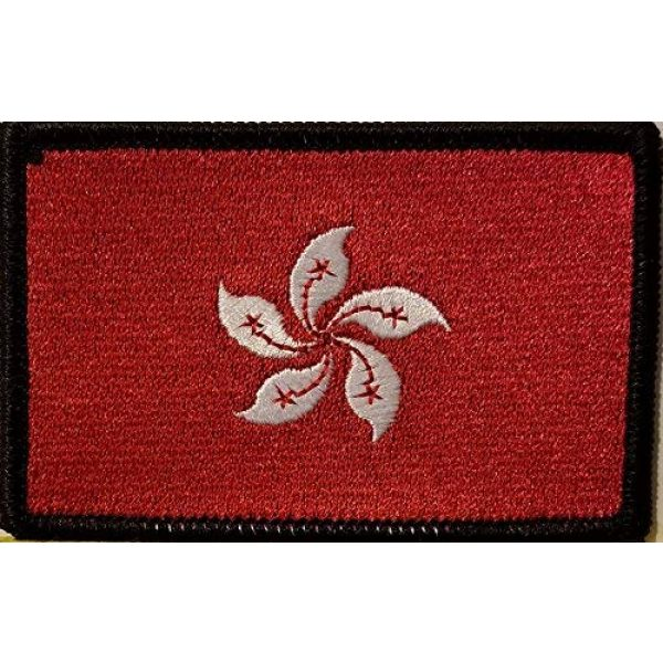 Fast Service Designs Airsoft Morale Patch 1 Hong Kong Flag Embroidered Patch with Hook & Loop Morale Tactical Travel Emblem Black Border