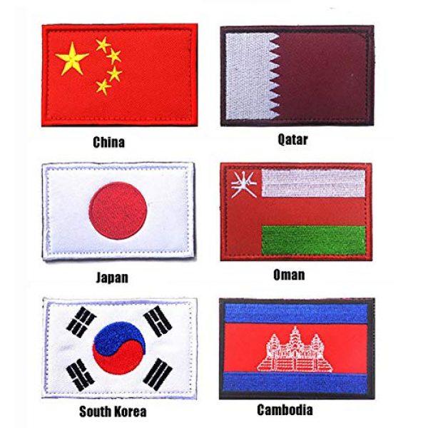 JuneSports Airsoft Morale Patch 5 Bundle 5/6 Pcs World National Flag Velcro Patches Tactical Morale Patch Set AB15