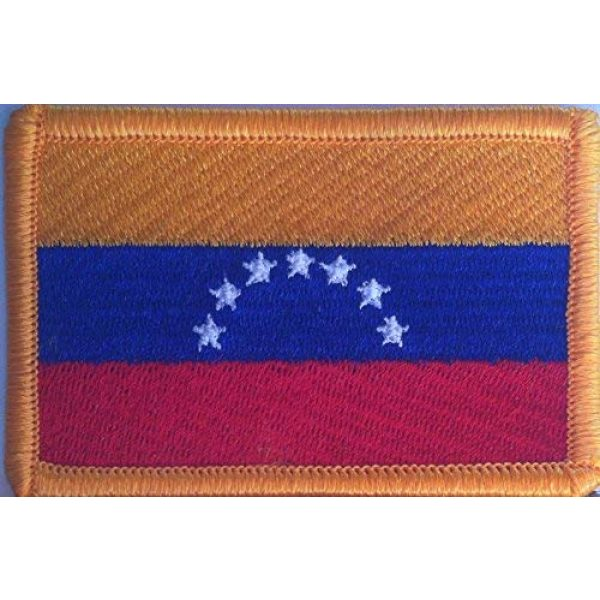 Fast Service Designs Airsoft Morale Patch 1 Venezuela 7 Star Flag Patch with Hook & Loop Patriotic Travel Morale Gold Border Venezuelan MC Biker Shoulder Emblem