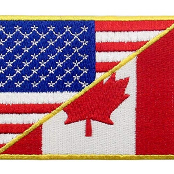 EmbTao Airsoft Morale Patch 2 USA American United State Canada Flag Patch Embroidered Applique Iron On Sew On Emblem, Red & Black