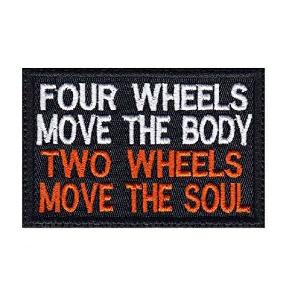 Tactical Patch Works Airsoft Morale Patch 1 4 Wheels Move The Body 2 Wheels Move The Soul Biker Motorcycle Patch