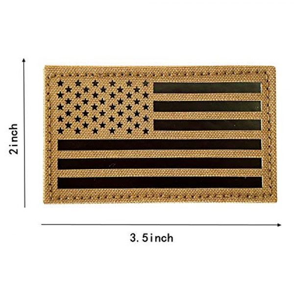 """Hannah Fit Airsoft Morale Patch 3 2x3.5"""" Infrared IR US USA American Flag Patch Tactical Vest Patch Hook-Fastener Backing(1 Left + 1 Right (Coyote Brown Tan)"""