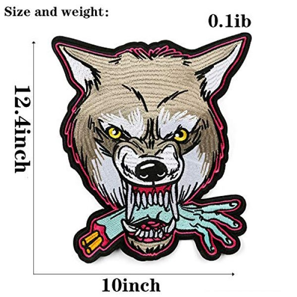TOOBIT Airsoft Morale Patch 4 12.4'' Wolf Patch Large Motorcycle Backpack Patches Punk Rocker Rider Motorcycle Biker Back Patches Jacket Patches Applique Iron on/Sew on Embroidered Iron On Patch for Jackets | (Wolf)