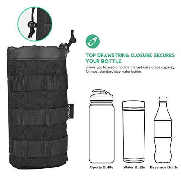 ProCase Tactical Pouch 3 ProCase Tactical Molle Water Bottle Pouch, Military Bottle Holder with Top Drawstring & Mesh Bottom, Portable Water Container Pouch Bag Hydration Carrier for Camping Hiking Hunting Traveling -Black