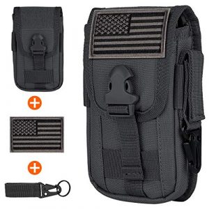 IronSeals Tactical Pouch 1 IronSeals Tactical Cell Phone Holster Pouch, EDC Gadget Waist Bag Molle Attachment Belt Holder Bag with US Flag Patch and Tactical Gear Clip