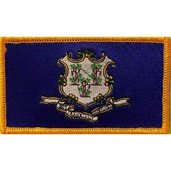 Fast Service Designs Airsoft Morale Patch 1 Connecticut State Flag Embroidered Patch with Hook & Loop Tactical Travel Morale USA Emblem Gold Border
