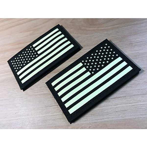 Hannah Fit Airsoft Morale Patch 2 2x3.5 Black White Glow in Dark US USA American Flag Tactical Patches Forward and Reversed (1 Left + 1 Right)