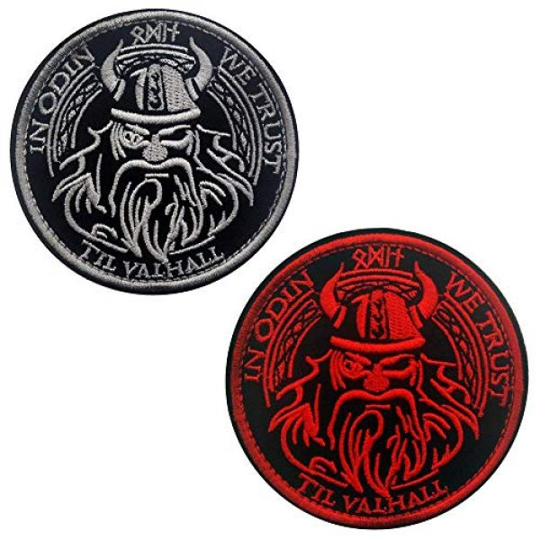 Kseen Airsoft Morale Patch 3 Viking God Embroidered Tactical Military Patch in Odin We Trust Valhalla Morale Armband Badge Emblem Applique with Hook and Loop Round Decorative Patches (White)