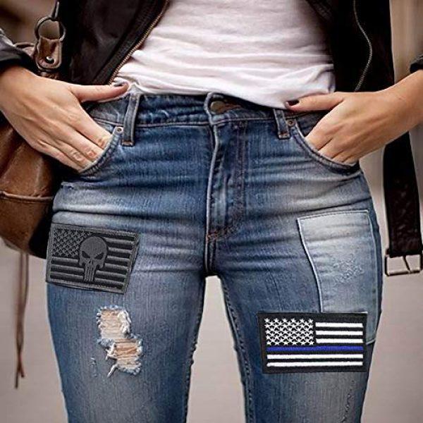 Bonng Airsoft Morale Patch 7 Bundle 14 Packs USA Flag Patches Thin Blue Line Tactical Military Morale Velcro Patch Set Morale Patches Set for Caps,Bags,Backpacks,Tactical Vest,Military Uniforms (color2)