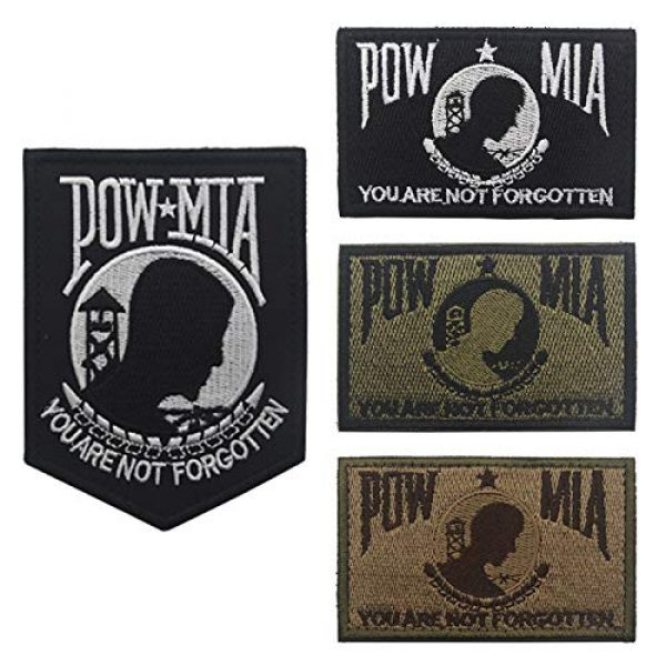 Zhikang68 Airsoft Morale Patch 5 POW MIA You are Not Forgotten Embroidered Patches Motorcycle Biker Vest Jacket Sew On Morale Vietnam,Military Shield Emblem(Khaki)