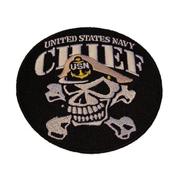 EC Airsoft Morale Patch 1 UNITED STATES NAVY CHIEF SKULL and CROSSBONES ROUND PATCH - Color - Veteran Owned Business