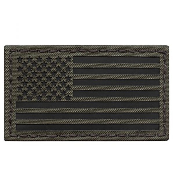 Tactical Freaky Airsoft Morale Patch 1 Olive Drab Green OD Infrared IR USA American Flag 3.5x2 IFF Tactical Morale Hook-and-Loop Patch