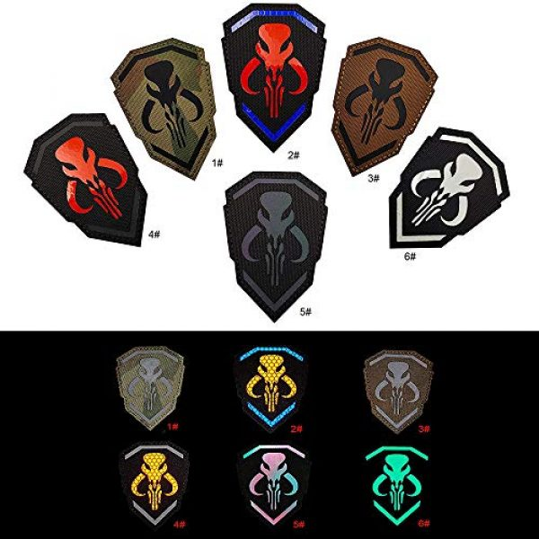 Kseen Airsoft Morale Patch 6 2 Pack IR Bounty Hunter Reflective Mythosaur Infrared Patch Star Wars Mandalorian Tactical Military Fastener Morale Shoulder with Hook and Loop Backing Embroidered CP Patches