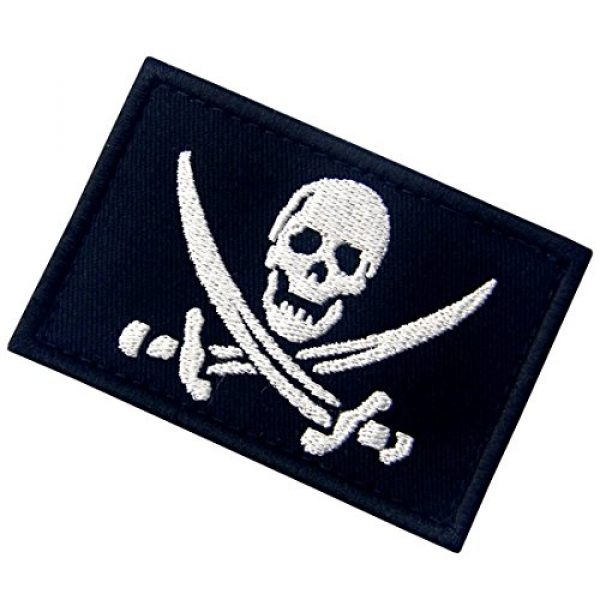 EmbTao Airsoft Morale Patch 5 Glow in Dark Pirate Flag Military Morale Applique Fastener Hook & Loop Patch
