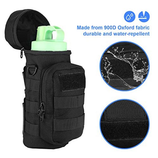 ProCase Tactical Pouch 4 ProCase Water Bottle Pouch, Tactical MOLLE Hydration Carrier Bag with Extra Accessory Pouch and Detachable Shoulder Strap -Black