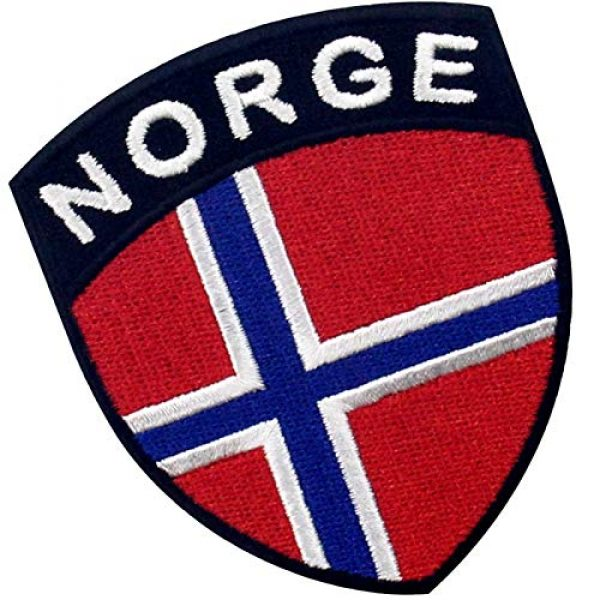 EmbTao Airsoft Morale Patch 3 EmbTao Norway Shield Flag Patch Embroidered Applique Iron On Sew On Norwegian National Emblem