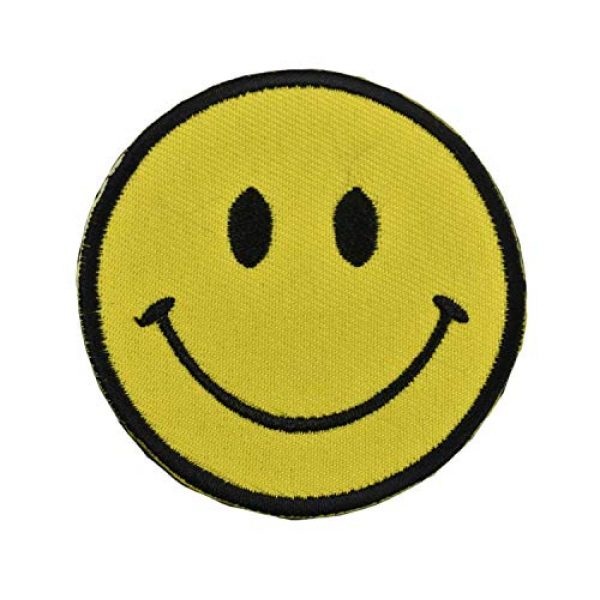 JADEDRAGON Airsoft Morale Patch 1 Tactical Morale Patch Embroidered /3D PVC Rubber Patch -USA Flag with Spartan/Smiley Face/Star of Life EMT EMS Cross Tactical Morale Badge Emblem Embroidery Patch (Smiley Face Yellow)
