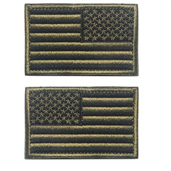 """Easyinsmile Airsoft Morale Patch 1 Easyinsmile American Flag Patch US Flag Embroidery Armband Patch 3"""" x 2"""" 1 Left+1 Right (Army Green)"""