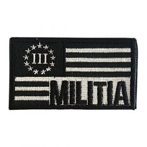 """Backwoods Barnaby Airsoft Morale Patch 1 Backwoods Barnaby American Flag Patch / 3 Three Percenter Militia Tactical Morale Patch w/Hook & Loop (2"""" x 3"""")"""