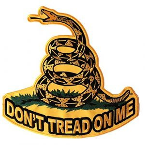 Ivamis Trading Airsoft Morale Patch 1 Don't Tread On Me, Yellow Gadsden Snake, Large Back Patch - 10x10 inch. Embroidered Iron on Patch