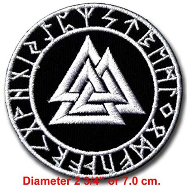 Verani Shop Airsoft Morale Patch 2 Verani Valknut Symbol Patch Iron on Nordic Thor Viking Odin Biker Applique Old Norse Harley Rider Biker Punk Heavy Metal Hard Rock Tatto Embroidered Iron On Badge Emblem Letter Morale Patch
