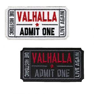 Homiego Airsoft Morale Patch 1 Homiego Ticket to Valhalla Admit One Die Historic Live Again Tactical Morale Badge Embroidery Iron on Patch (1Black+1White)