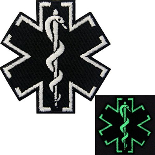 EmbTao Airsoft Morale Patch 3 EmbTao Glow in Dark ACU EMS EMT Medic Paramedic Star of Life Morale Tactical Embroidered Applique Iron On/Sew On Patch - Black & White