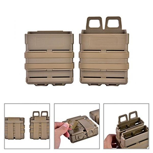 VGEBY Tactical Pouch 2 2Pcs Tactical Magazine Pouch Bag, Plastic Clip Mags Holder Set Quick Pull Box for Molle System Vest