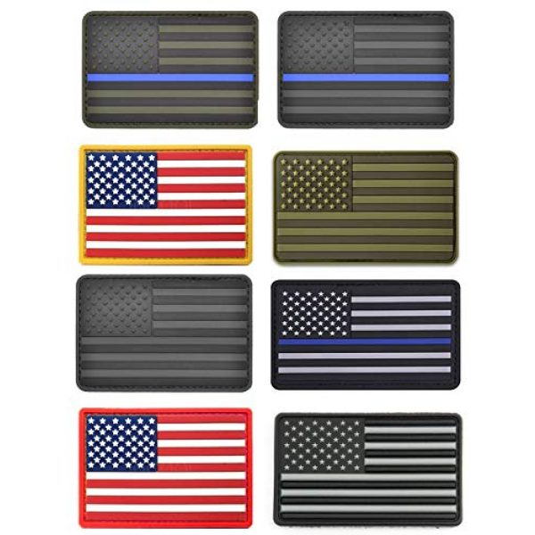 ASA TECHMED Airsoft Morale Patch 4 8 Pc Assorted USA Tactical American Flag Patch Thin Blue Line United States Military Morale Patches Set for Molle, Hats, Backpacks,Tactical Vest, Uniforms