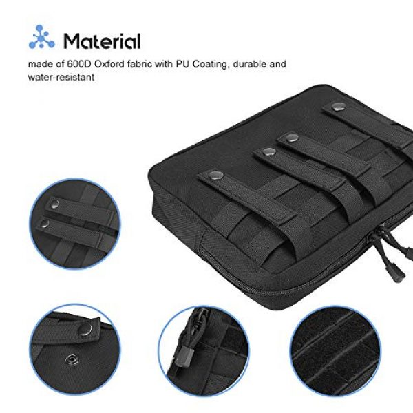 ProCase Tactical Pouch 4 ProCase Tactical Admin Molle Pouch, Military MOLLE Pouch Horizontal Multi-Purpose Utility Gadget Gear Tool Bag for Magazine, Flashlight, Map and Other Small Tools for Outdoor Activities -Black