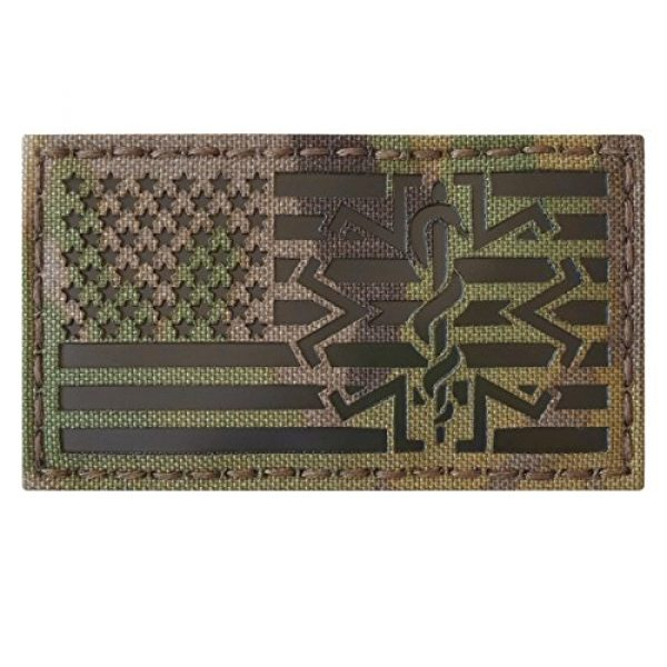 Tactical Freaky Airsoft Morale Patch 3 Multicam Infrared IR USA American Flag EMS Star of Life Medic Paramedic 3.5x2 Tactical Morale Hook-and-Loop Patch