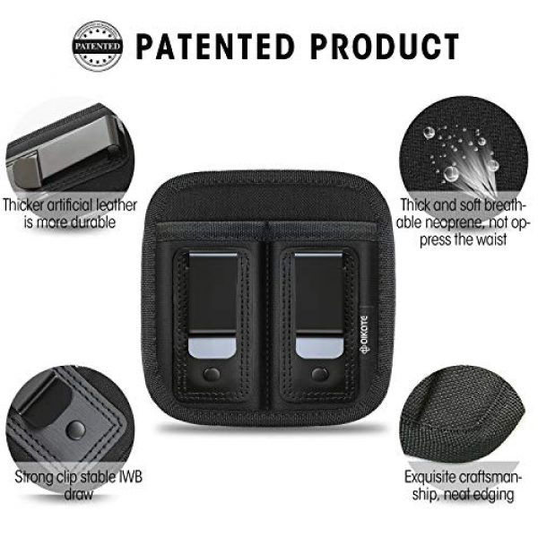 AIKATE Tactical Pouch 3 Universal Double Magazine Pouch for 9mm .40 .45 .380 .357, IWB Mag Holster Concealed Cary for Double Stack, Mag Holder for Glock 19 43 17 1911 S&W M&P, Fits Any 7 10 15 Round Clip for All Pistols Ammo
