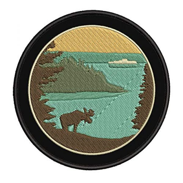 """Appalachian Spirit Airsoft Morale Patch 1 Moose Lake Island 4"""" Embroidered Patch DIY Iron or Sew-on Decorative Vacation Travel Souvenir Applique Wander Wildlife Hike Trek Camping Explore Nature Mountain Bear Wolf National Park Trails Scout"""