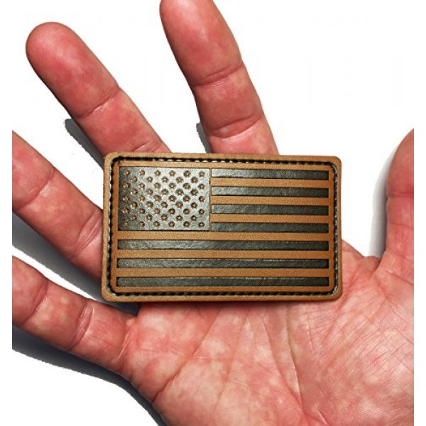 """Empire Tactical USA Airsoft Morale Patch 2 Forward 3"""" X 2"""" Genuine Leather American Flag (hook/loop) Morale patch"""