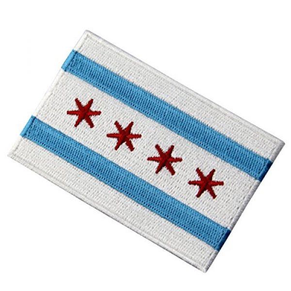 EmbTao Airsoft Morale Patch 3 Chicago City Flag Embroidered Iron On Sew On Illinois Patch