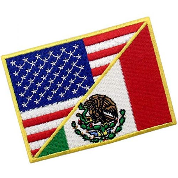 EmbTao Airsoft Morale Patch 3 USA American United State Flag and Mexico Flag Patch Embroidered National Applique Iron On Sew On Emblem, Multi-Color